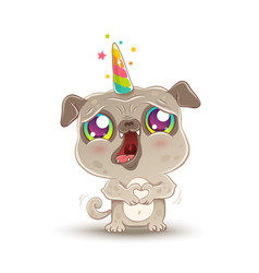 pug with unicorn horn vector image