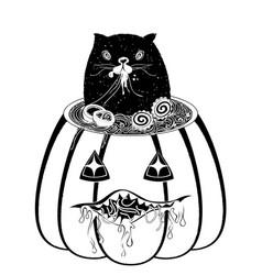 ramen and cat in the pumpkin vector image