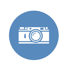 rangefinder camera icon placed on blue circle vector image