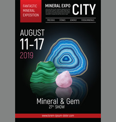realistic stone mineral expo poster vector image