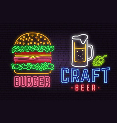 Retro neon burger and craft beer sign on brick vector