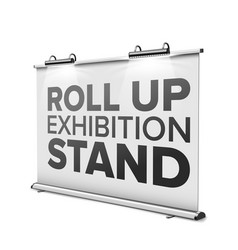 roll up exhibition stand with modern lamps vector image