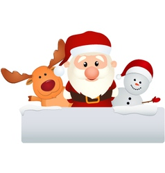 santa claus with reindeer and snowman vector image