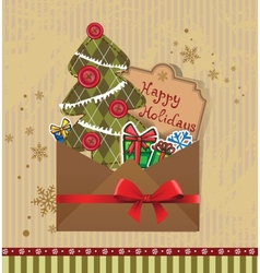 Scrapbook Christmas greeting card vector image