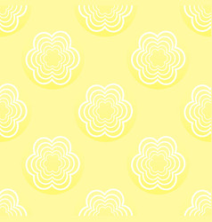 Seamless pattern with white flowers on a yellow vector