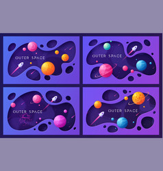 Set of colorful cartoon outer space backgrounds vector