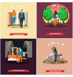set of couples in love concept posters vector image