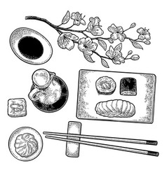 Set sushi vintage black engraving vector