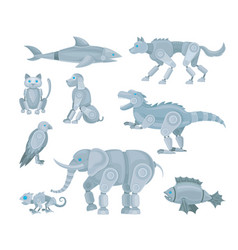 Set various animal robots vector