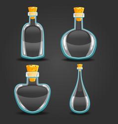 Set with empty different bottle elixir vector