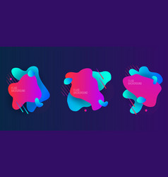set with geometric modern 3d fluid shapes vector image
