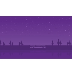 Silhouette of spruce and bridge vector image