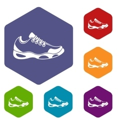 Sneakers for tennis icons set vector