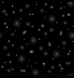 snowflake simple seamless pattern on black vector image