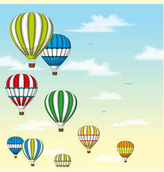 Some hot air balloons in front of pastel sky vector