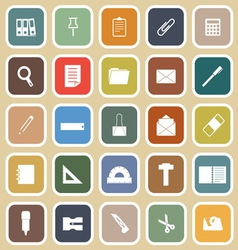 Stationary flat icons on yellow background vector image