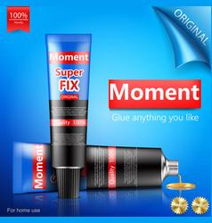 Super or moment glue tube realistic vector