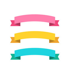three ribbon banners in flat color pink blue and vector image