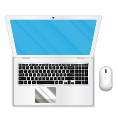 Top view white laptop and mouse vector