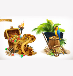 treasure hunt and adventure game logo 3d icon set vector image