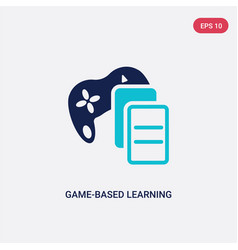 Two color game-based learning icon from vector