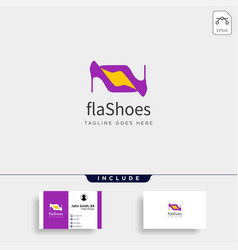 Two heel fashion with flash simple flat logo vector