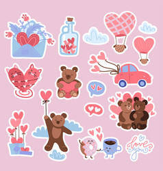 valentine s day set stickers - bear vector image