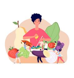 vegan food concept flat groceries elements fresh vector image