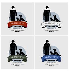 veterinarian clinic logo design artwork of an vector image