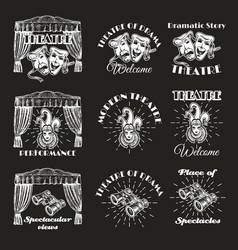 vintage theatre label emblem badge and logo set vector image