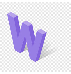 w letter in isometric 3d style with shadow vector image