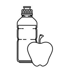 water bottle gym with apple vector image