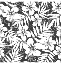 White and gray tropical flowers silhouettes vector