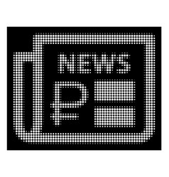 White halftone rouble financial news icon vector