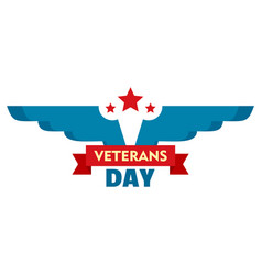 Wings veterans day logo flat style vector