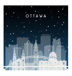 winter night in ottawa night city in flat style vector image