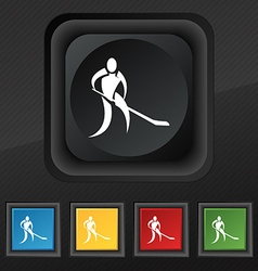 Winter sport Hockey icon symbol Set of five vector image