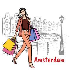 Woman in amsterdam vector