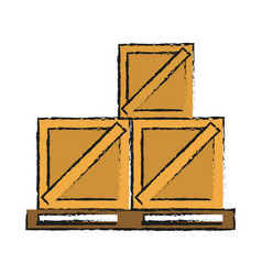 wooden boxes on pallets shipping delivey icon vector image