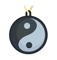 Yin yang medallion icon flat style vector