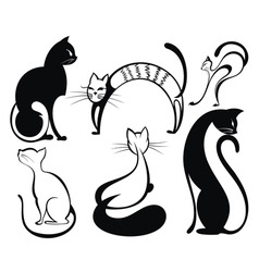 Black cat silhouette collections vector image