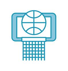 Blue basket ball in the hoop cartoon vector