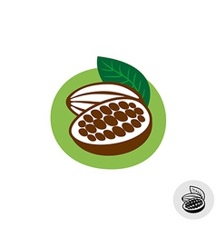Cocoa pod with beans badge symbol vector image