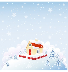 Cute house in winter time vector