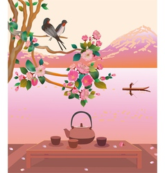 Sakura Tea ceremony Menu vector image vector image