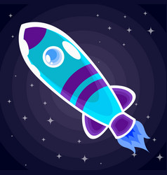 blue with purple stripes space rocket with a vector image
