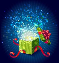 Cartoon Colorful Magic Gift Box Composition vector image