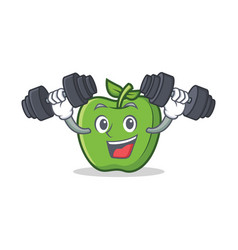 fitness green apple character cartoon vector image vector image