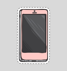 mobile phone patch cut out of paper dashed line vector image vector image