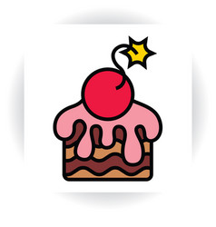 piece of cake with sugar glaze and cherry-bomb vector image